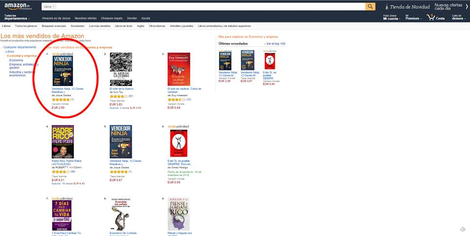 vendedor ninja libro numer uno en ventas